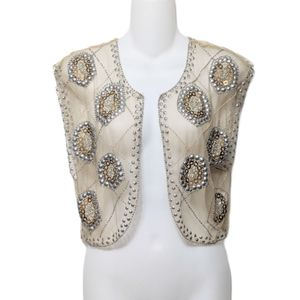 MOYNA Beaded Lace Mesh Studded Vest Cardigan S